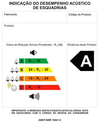 Selo de desempenho acústico das esquadrias
